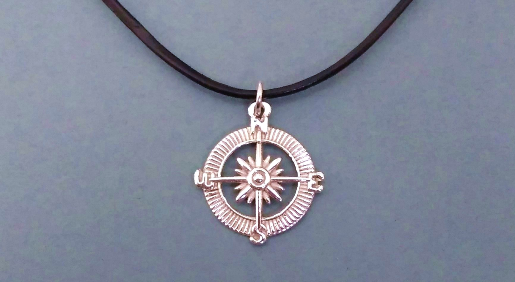 Silver Lighthouse Charm on Black Leather Cord Necklace
